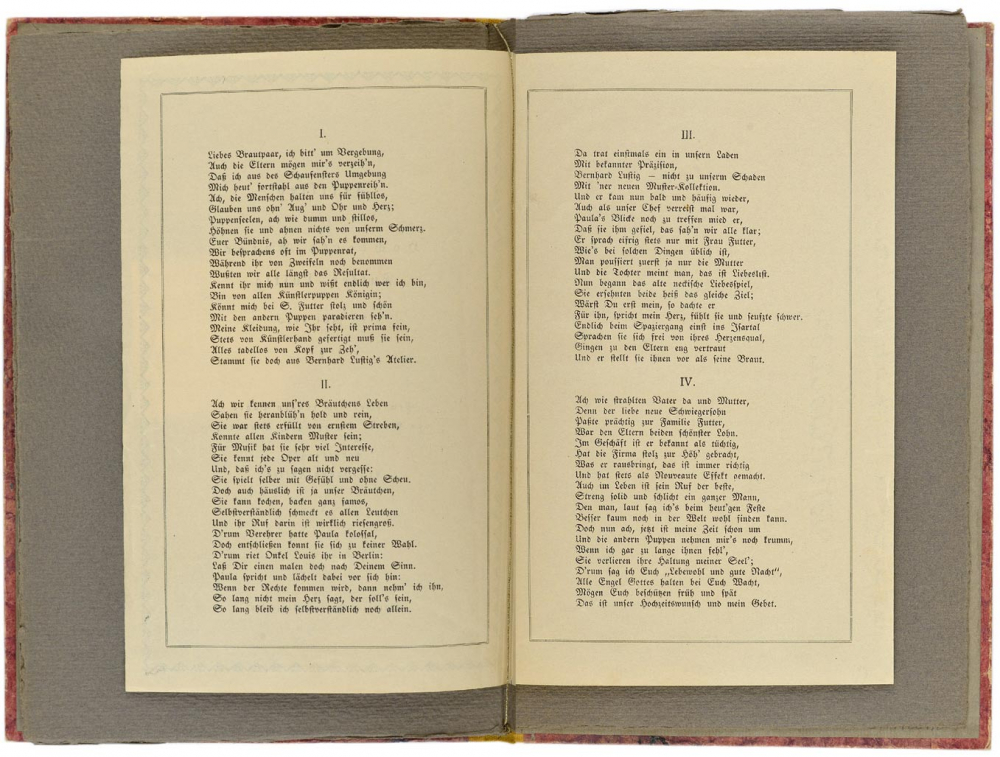 Two-page spread with two pages of the celebratory song by Hanna Futter.