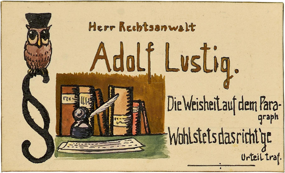 Adolf Lustig's place card. An owl with a doctoral cap is sitting on the top of a clause sign on the left alongside an illustration of a writing desk. To the right, the couplet: