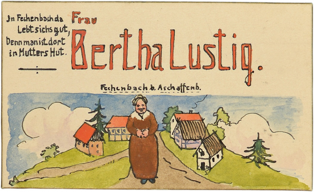 """Bertha Lustig's place card.  She is standing on a country road with half-timbered buildings in the background. The illustration is captioned """"Fechenbach near Aschenbach."""""""