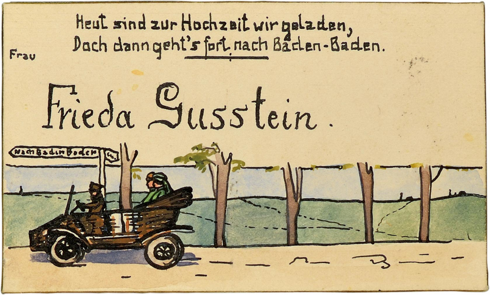 """Frieda Gusstein's place card. The bottom of the place card shows three people riding in an open car down a country lane. Above, the text reads """"Today a wedding our hearts will gladden, /But then we're off to Baden-Baden."""""""