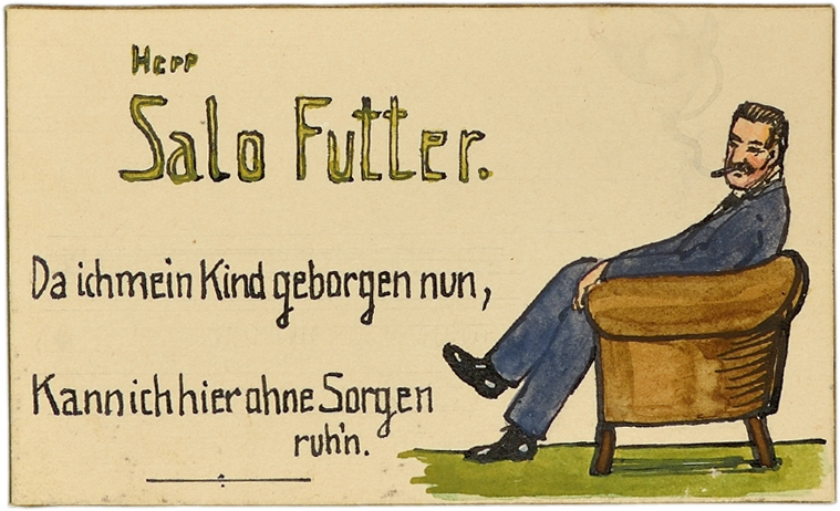 """Salomon Futter's place card. On the right, Salomon Futter is sitting on an armchair, smoking. The text reads """"Now my daughter's made her nest, /This armchair knows my heart doth rest."""""""