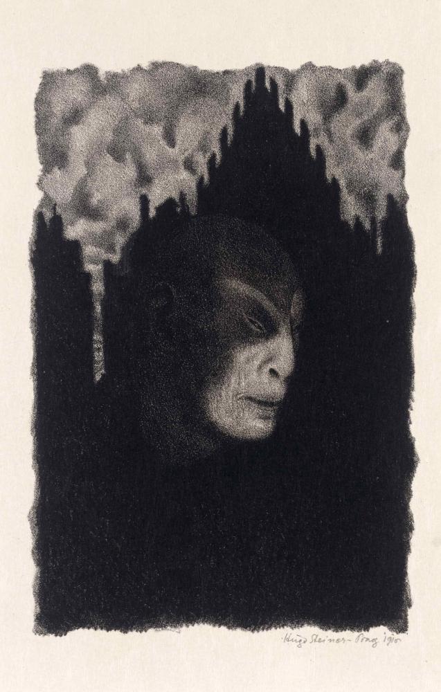 Schwarz-weiß-Litografie eines schemenartigen, mephistohaften Golemgesichts vor den schwarzen Silhouetten hoher abgestufter Renaissancegiebel