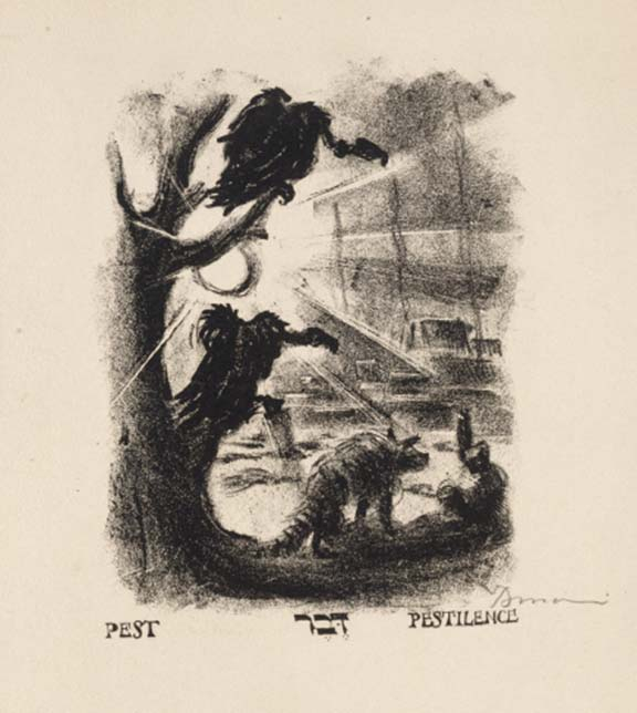 Lithograph print: Two vultures are perched on tree branches on the left side of the image. In the foreground, there is a wild dog with a striped tail, and in the background the suggestion of a city beneath a setting or rising sun.