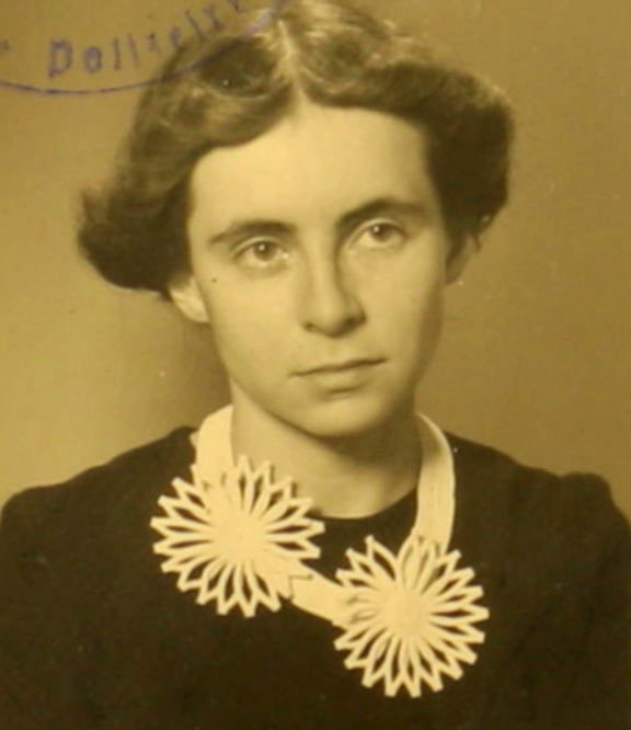 Black-and-white photograph of a young woman
