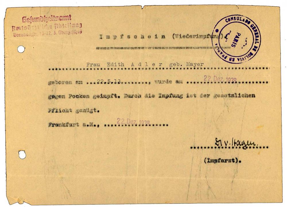 Vaccine certificate for Edith Adler: Israelite Community Hospital, regarding smallpox vaccination, filed out by typewriter, Frankfurt am Main, 22 Dec 1938