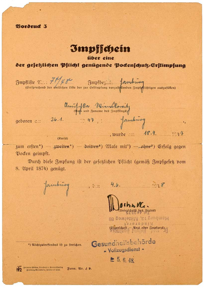 Vaccine certificate, filled out by hand with a stamp from the health authority – penal service – dated 5 Jun 1948