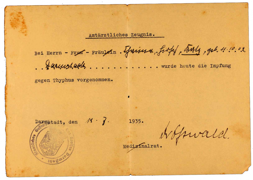 Vaccine certificate for Heinrich Katz: concerning typhus, printed form, filled out by hand, Darmstadt, 18 July 1935