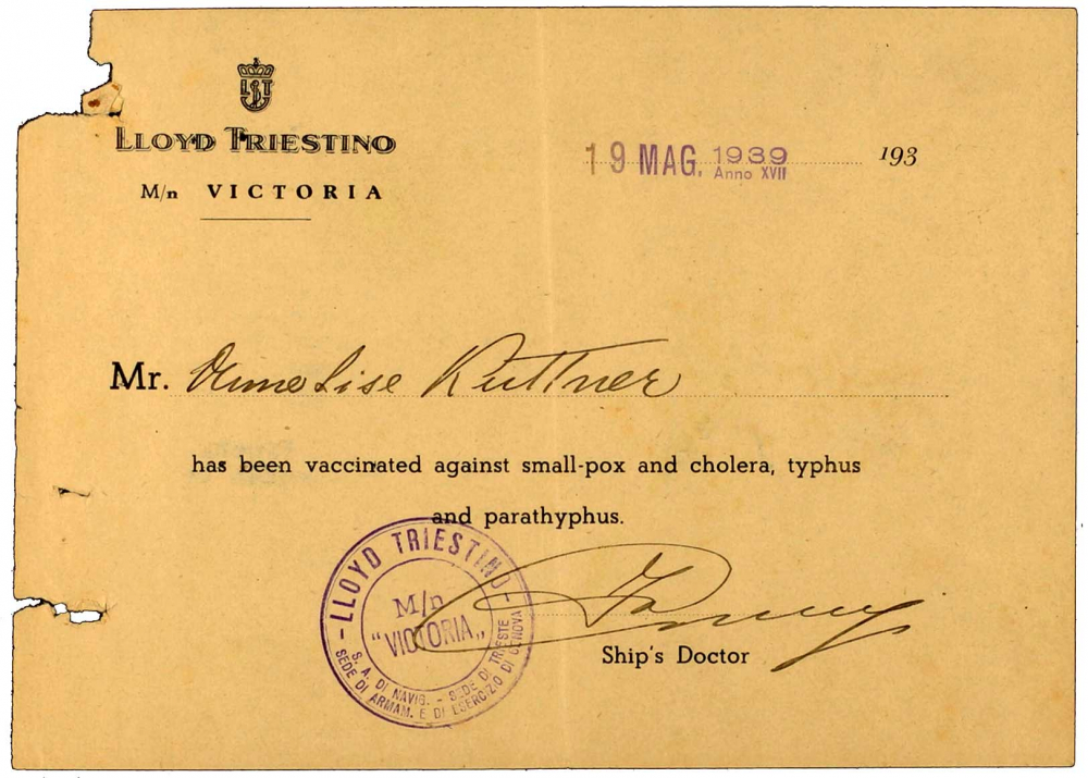 Vaccine certificate for Anneliese Kuttner: Lloyd Triestino, printed form, filled out by hand, 19 Mar 1939