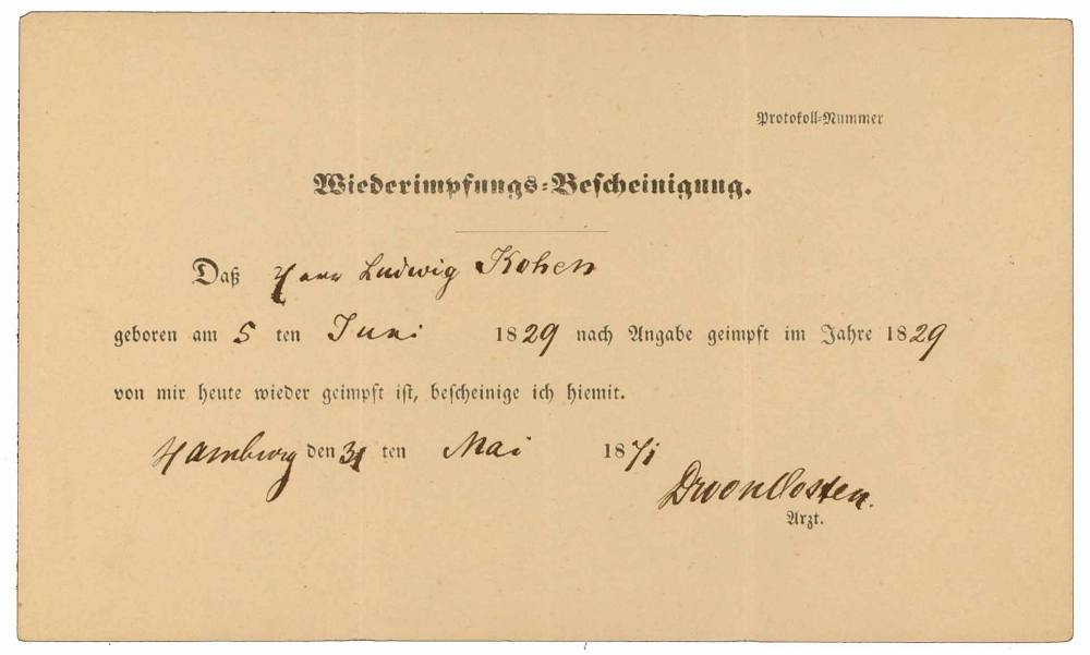 Vaccine certificate for Ludwig Kohen: front side, filled out by hand, Hamburg, 31 May 1871