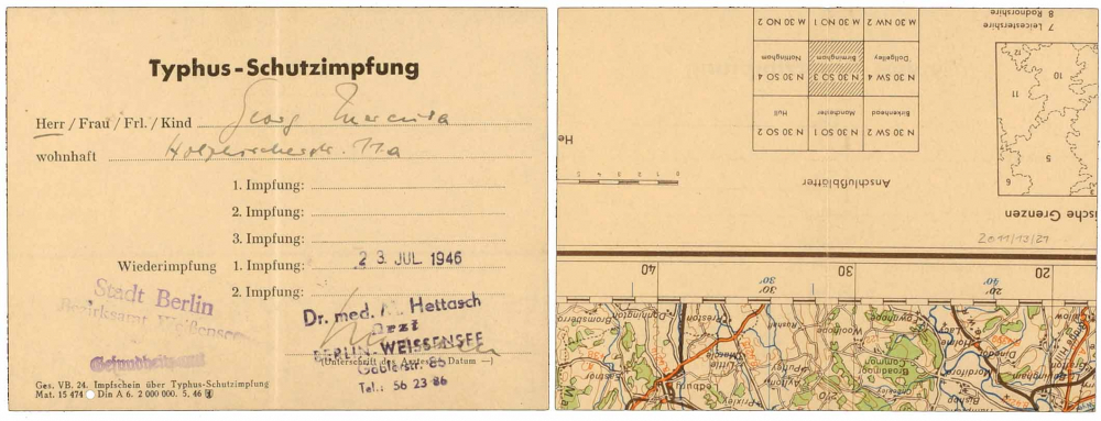 Printed form for a typhus vaccination, filled out by hand and signed by Dr. Hettasch in Berlin's Weissensee neighborhood; the back shows the edge of a map with the distance scale