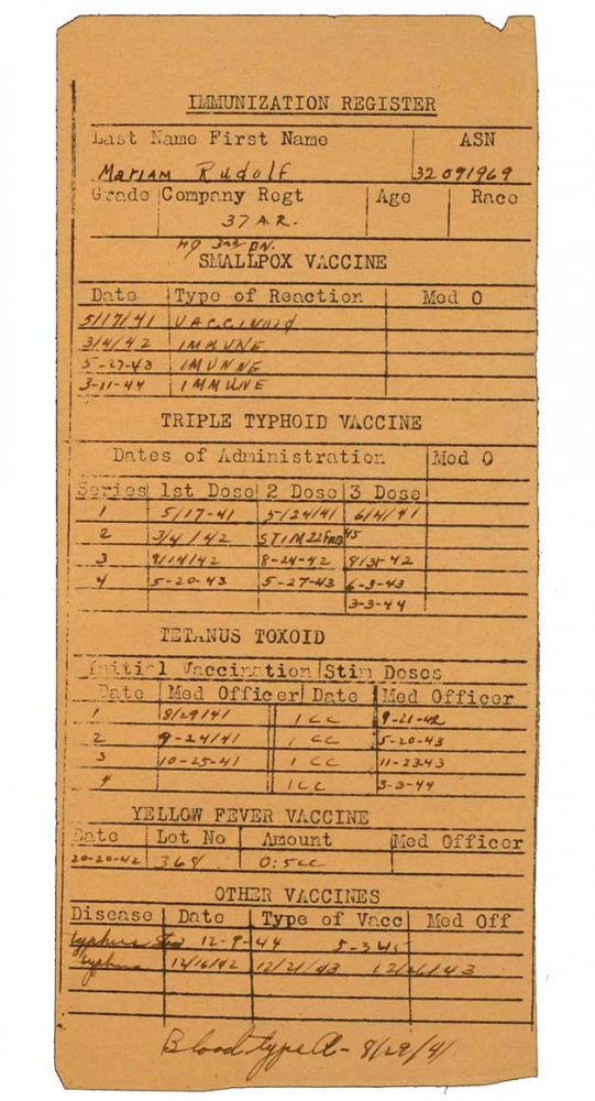 Immunization Register, printed form, filled out by hand, English, 1941–44
