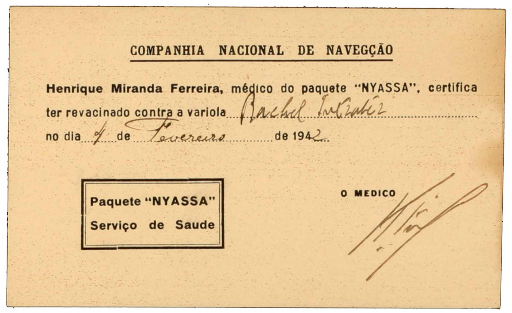 Portuguese printed vaccine certificate, filled out by hand and signed by the ship's doctor Henrique Miranda Ferreira