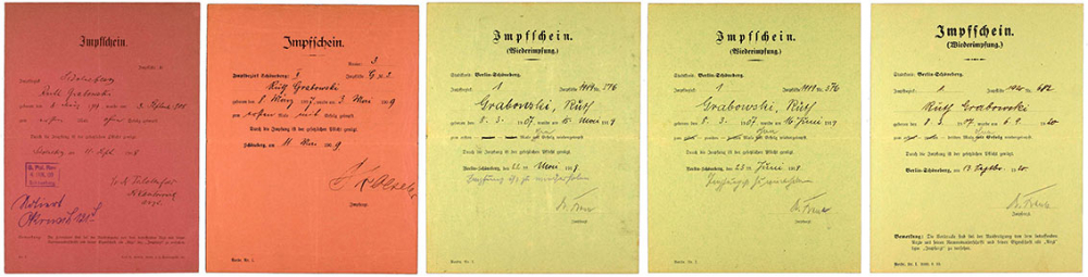 Five vaccine certificates, two of them red and three green