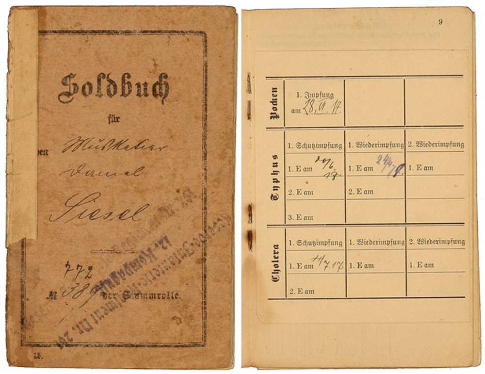 Cover page and another page from a stapled pay book listing vaccine certificates: Pre-printed form, filled out by hand, Zossen, Neukölln, 3–21 Jul 1917