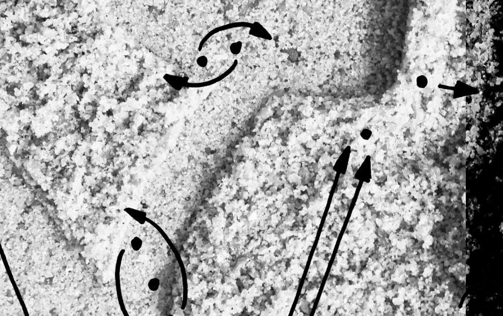 Schwarz-weiß-Bild eines Sandflächenausschnitts mit hebräischem Buchstaben, überlagert von gemalten Punkten und Pfeilen