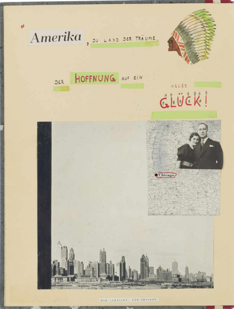 Page in a notebook with America and Hope written on it, the head of a native American with a feather headdress, photographs of New York, two people and a map