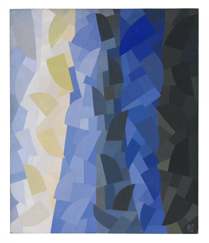 Abstract painting with white, beige, blue and black shapes