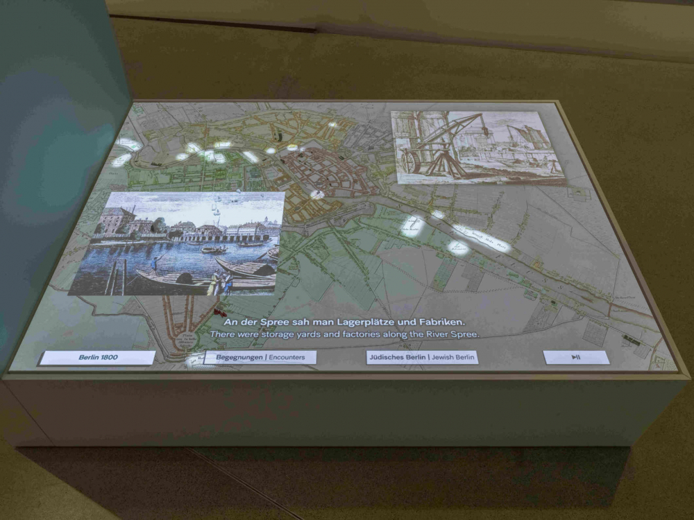 View of a media station on which a city map is displayed