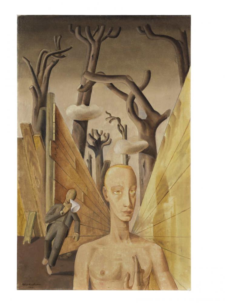 Gemälde mit  zwei Personen, abstrakten Holzwänden und Bäumen