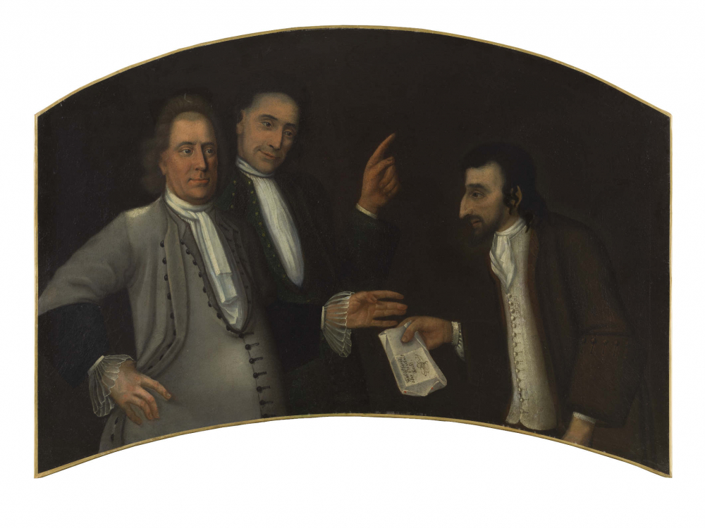 Painting with three men. The middle man raises his index finger. With the other hand he takes a piece of paper from the man on the right side.