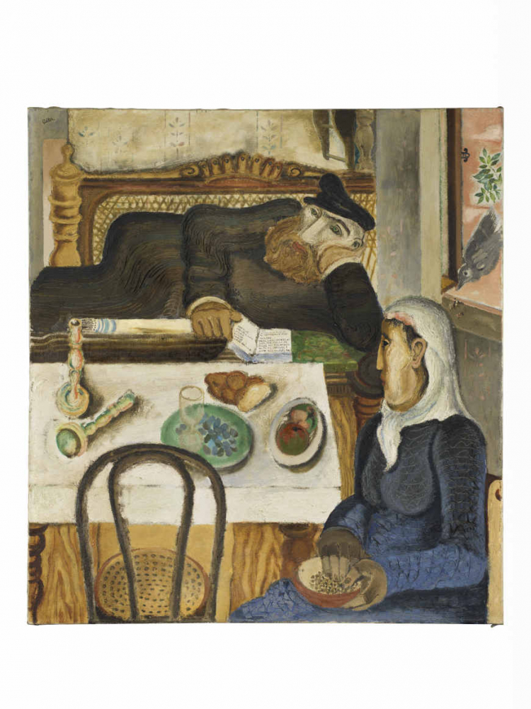 Painting with a man with a beard and a cap and a woman in a white headscarf sitting at a table