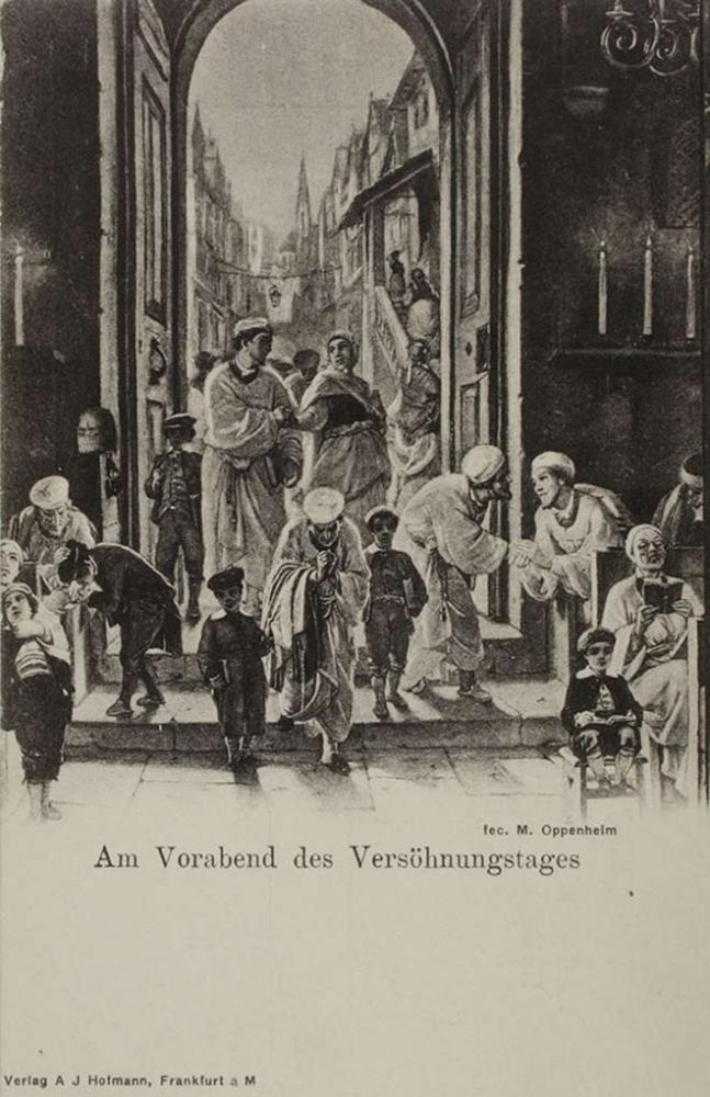 Lithografie auf Karton von Menschen, die durch das Eingangsportal in eine Synagoge gehen