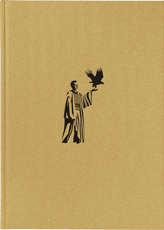 The cover shows a black figure on a golden background. Her left arm is raised, on her hand an eagle takes flight.