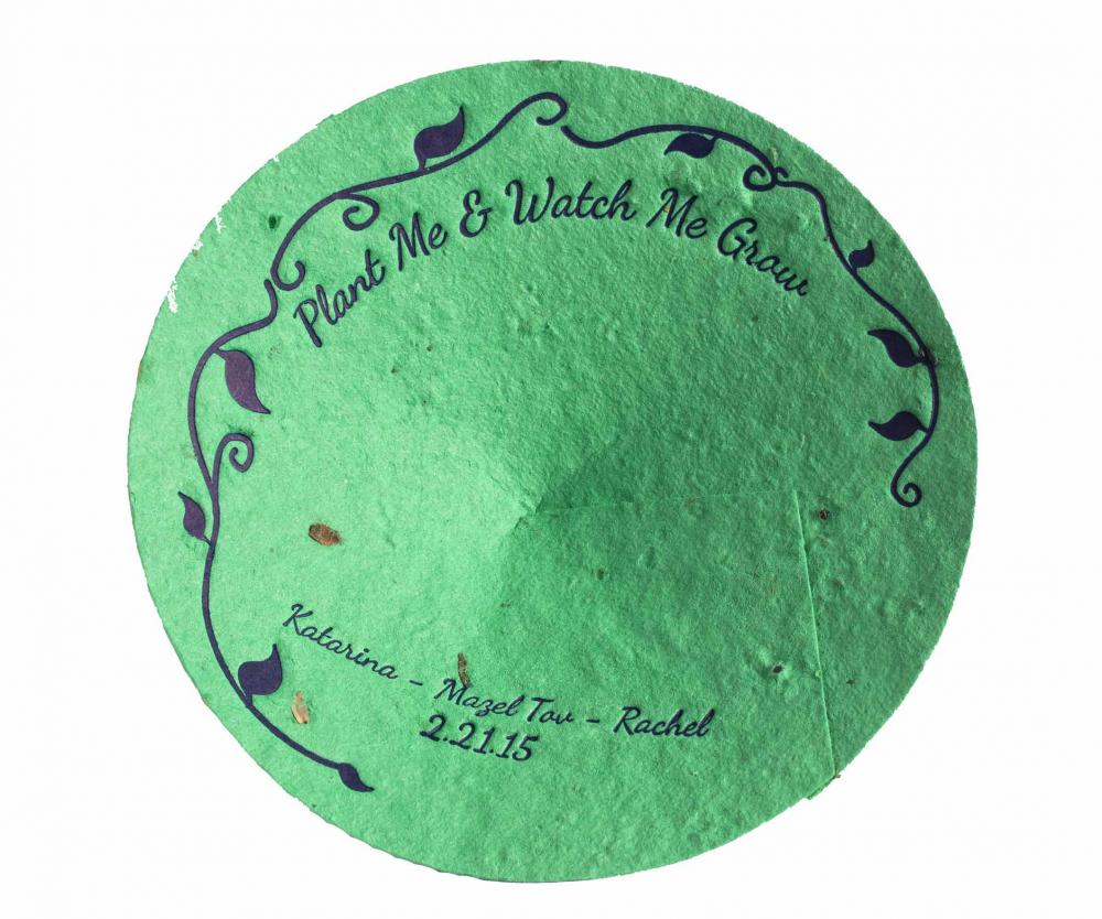 "Green kippah with the words ""Plant me and watch me grow - Katarina - Mazel tov - Rachel - 2-21-15"""
