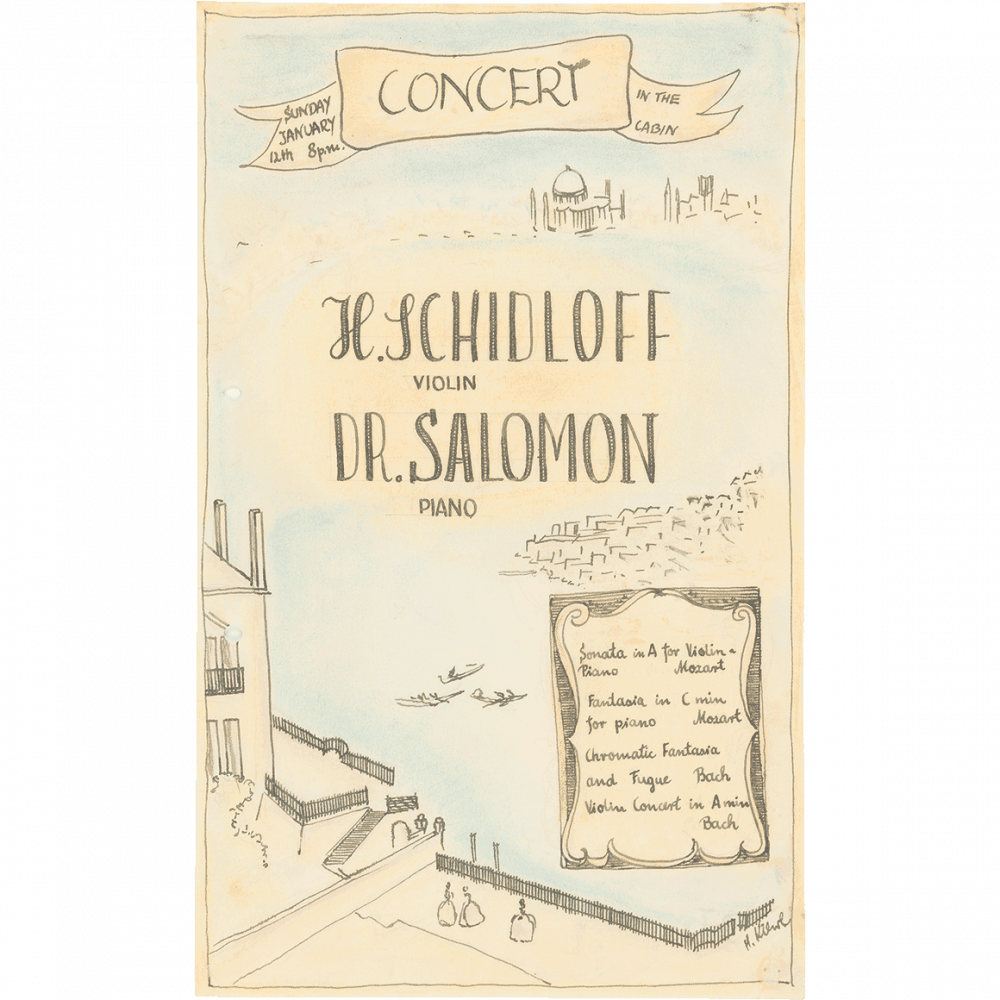 Handschriftliche und gezeichnete Konzertankündigung