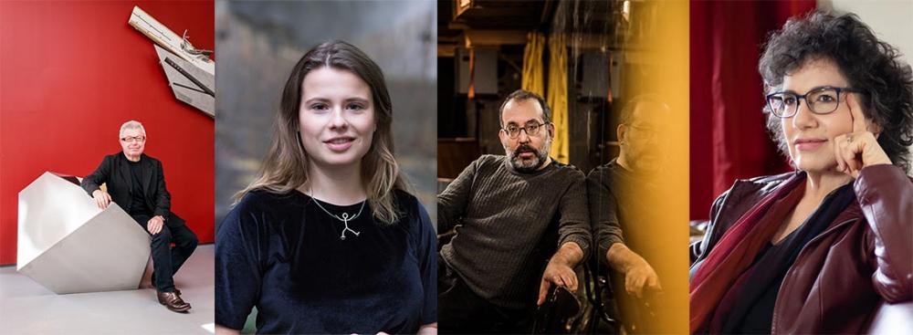 Collage von Porträtfotos der vier in der Bildunterschrift genannten Personen