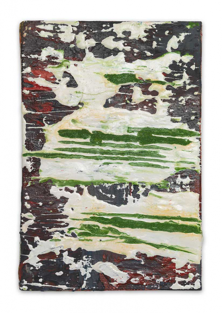 A red painted rectangle is caked and splattered with a layer of white and green paint