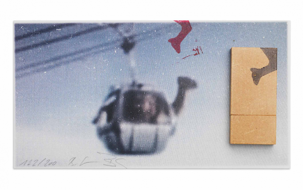 An art piece that appears to be a blurry picture of gondola that is signed by in the artist on the  bottom left corner