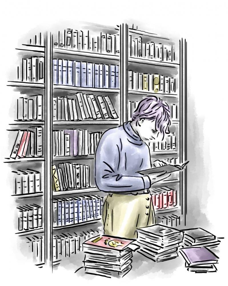 Zeichnung: Ein Jugendlicher steht in einem Zimmer mit Bücherregalen an den Wänden, er ist in ein Buch vertieft