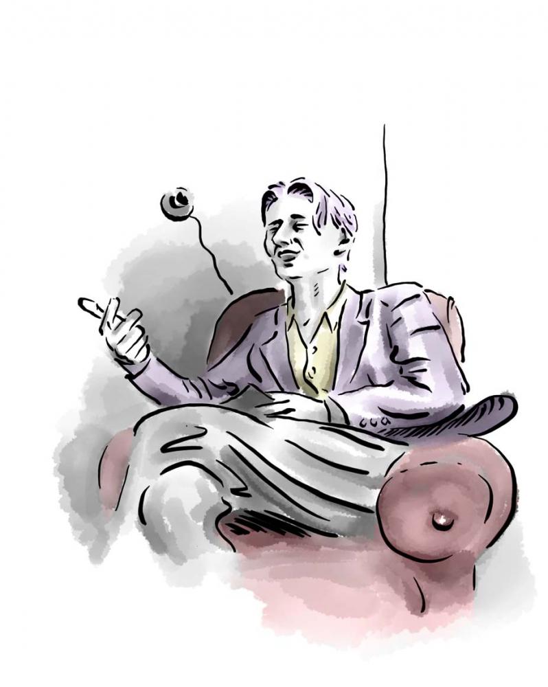 Zeichnung: Ein Jugendlicher sitzt in einem Polstersessel und gestikuliert mit seiner Hand
