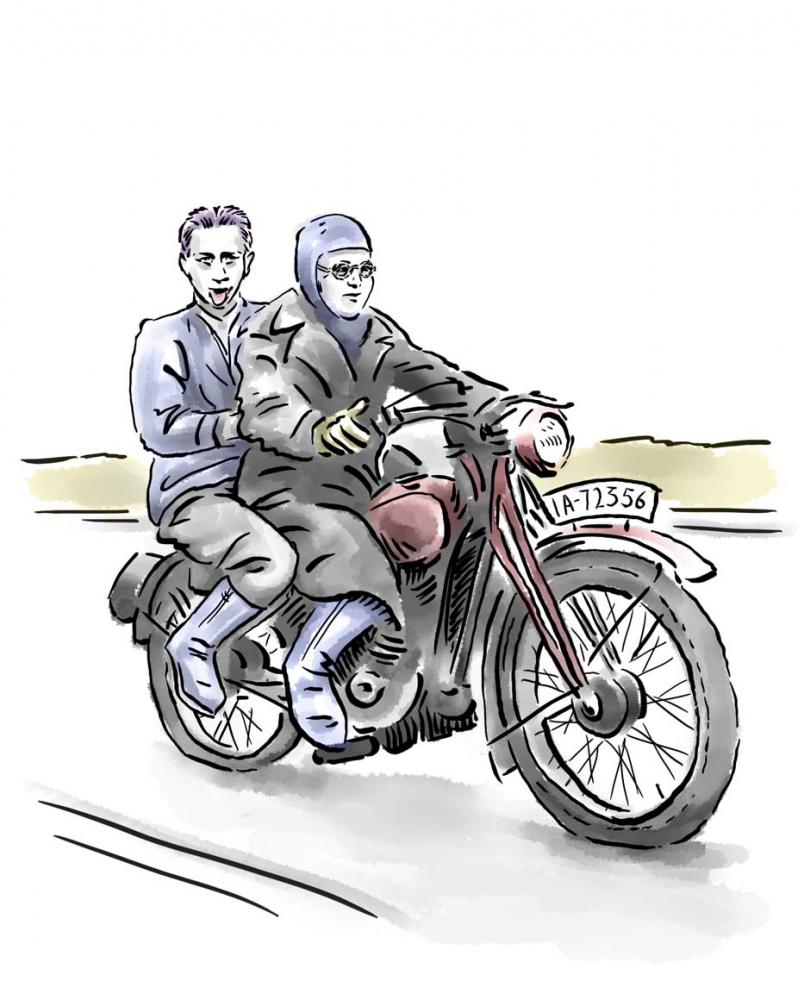 Zeichnung: Zwei Jugendliche auf einem Motorrad, der vordere in Motorradbekleidung, der hintere streckt die Zunge heraus