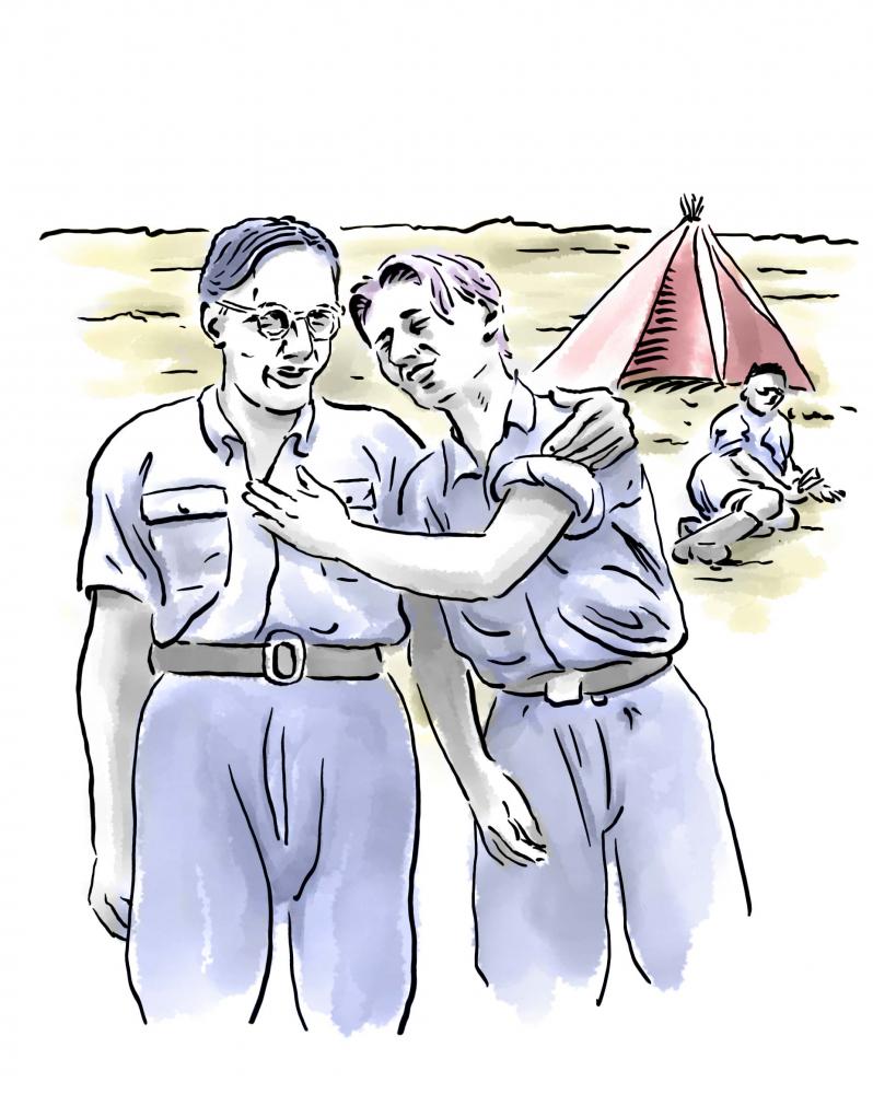 Zeichnung: Zwei Jugendliche in Fahrtenkleidung; die rechte Person berührt die andere mit der Hand; im Hintergrund ein Zelt