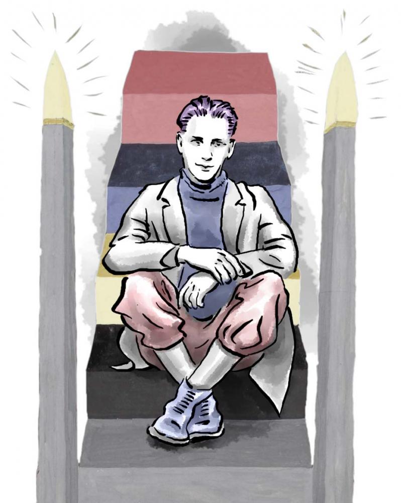 Zeichnung: Ein Jugendlicher sitzt auf einer stilisierten Treppe, eingerahmt von zwei leuchtenden Kerzen