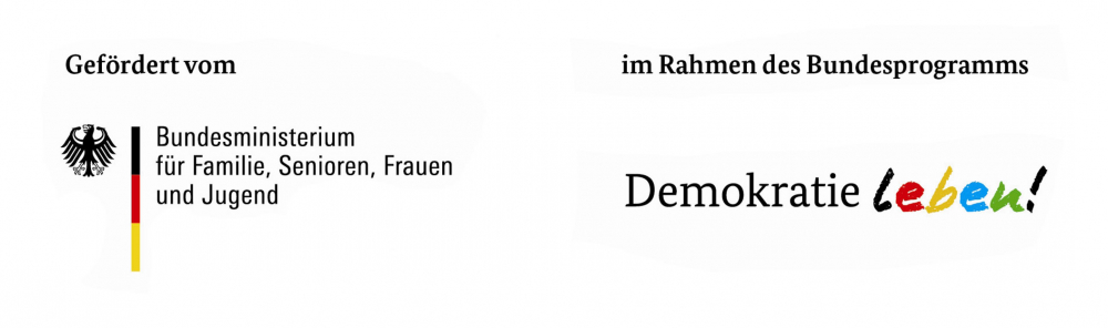Logo with text: Supported by the German Federal Ministry of Family Affairs, Senior Citizens, Women and Youth as part of the federal project Live Democracy!