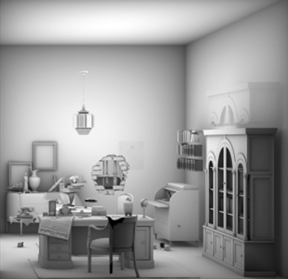 black and white model of a living room