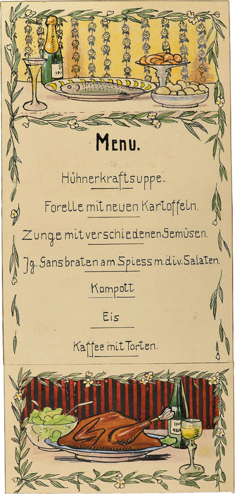 Illustrated menu. The top section depicts a serving plate with fish alongside a full Champagne flute. The bottom section shows a roast goose and a salad bowl.