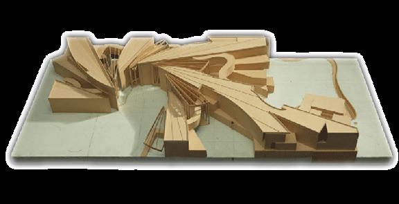 Entwurfsmodell aus Holz des im Fließtext beschriebenen Gebäudes
