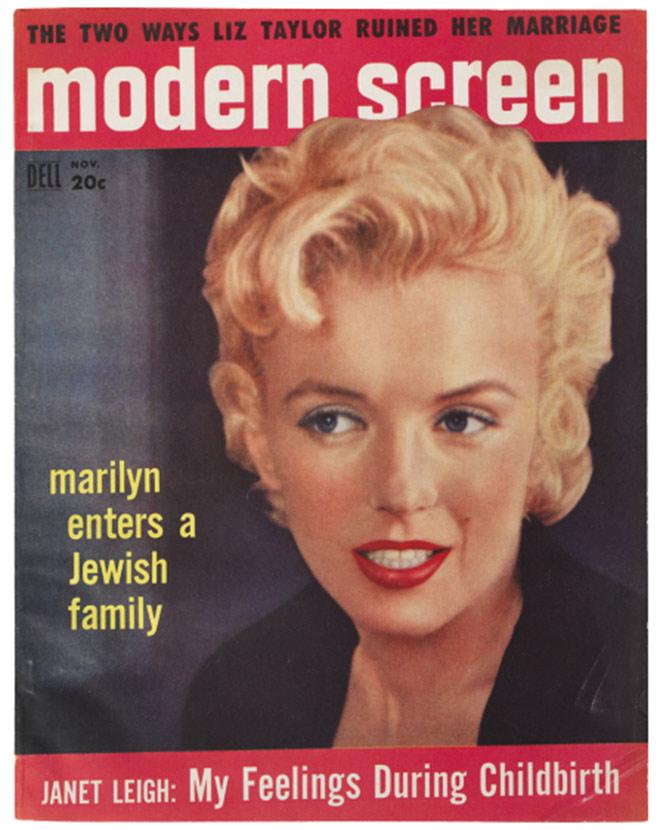 """Zeitschriften-Cover mit einem Proträt von Marilyn Monroe und dem Titel """"marilyn enters a Jewish family"""""""