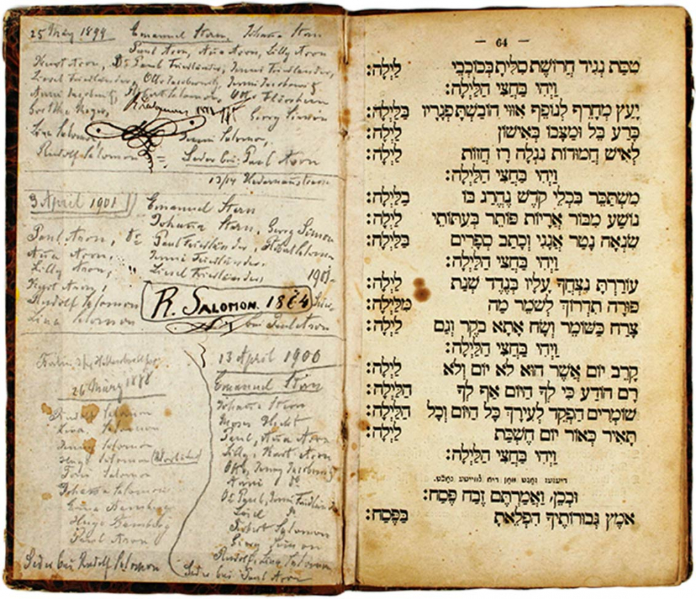Hebrew letters on the last page (p. 64) and handwritten entries on the rear inside flap