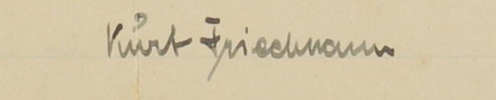 Unterschrift von Kurt Friedmann