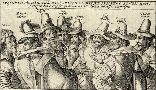 Copper engraving of eight English noblemen with hats discussing with each other with the title