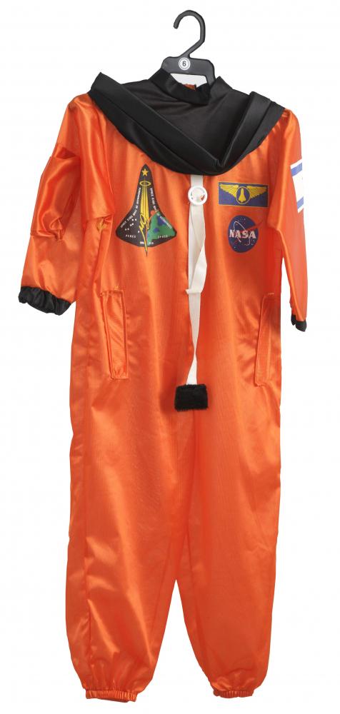 Orangenes Astronautenkostüm mit aufgestickten Symbolen, z.B. der NASA