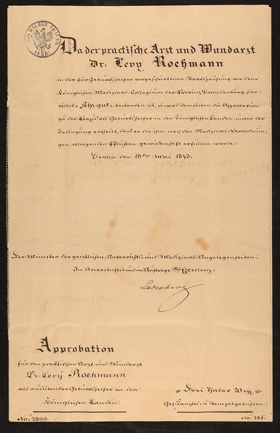 Approbationsurkunde, Dokument schwarz-weiß