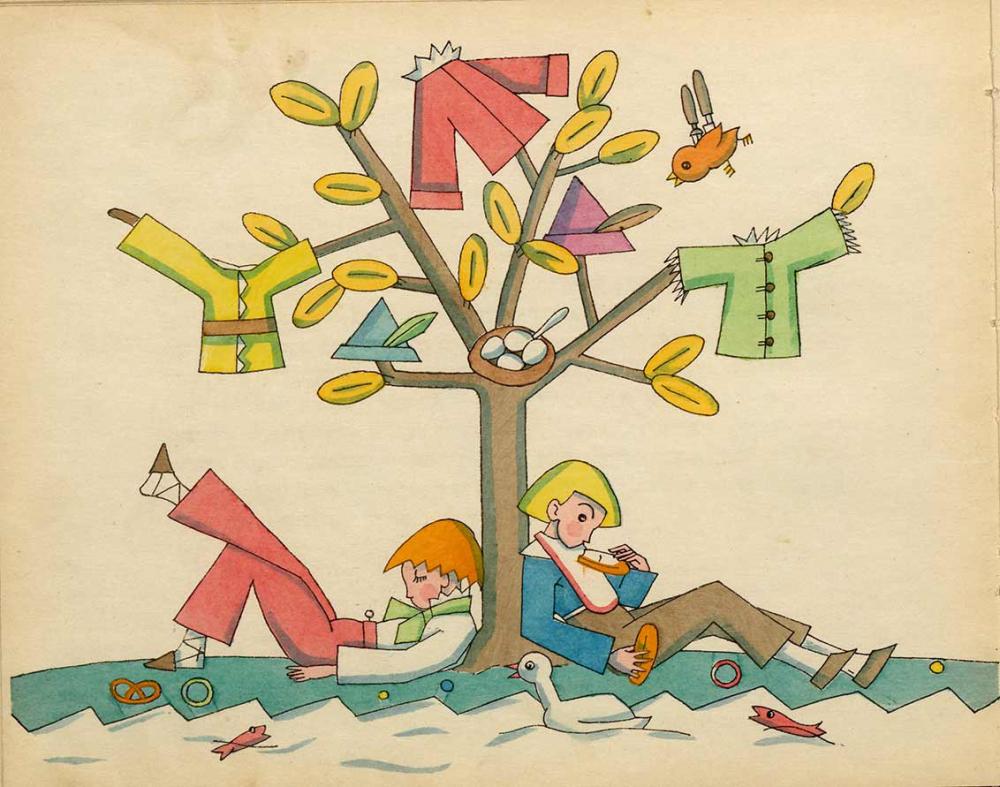 Zeichnung: Am Stamm eines mit Kleidern behängten Baums lehnen zwei Jungen mit Brötchen und Brezeln in der Hand oder neben sich, im Vordergrund ein Fluss mit Ente und Fischen