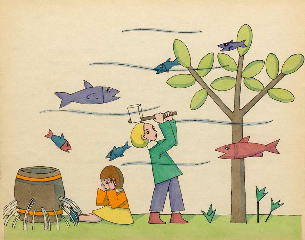 Zeichnung zweier Kinder: Eins sitzt vor einem Fass mit vielen Löchern, aus denen Wasser strömt, eines schwingt eine Axt zu einem Baum, all das scheint unter Wasser stattzufinden, da Wellen und Fische durch die Luft schwimmen
