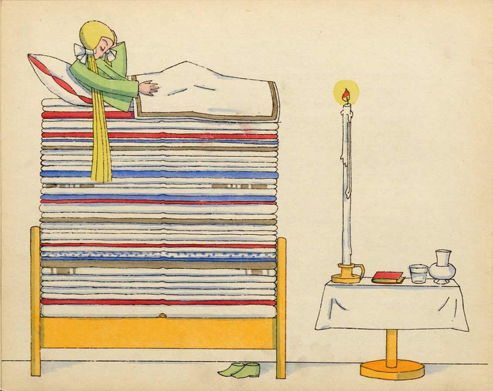Zeichnung eines Mädchens in einem Bett mit sehr vielen Matratzen, unter der untersten eine Hülsenfrucht. Daneben ein Tisch mit langer Kerze